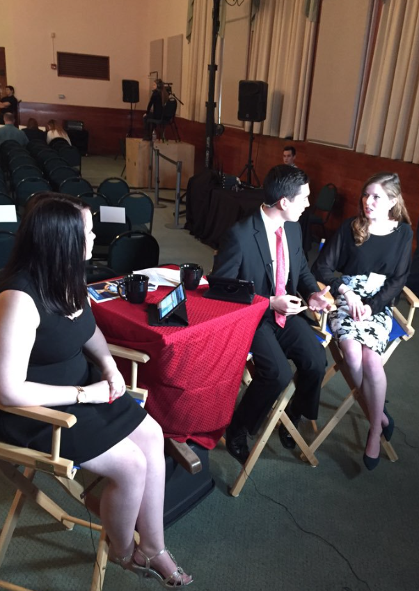 Christina Reis '16 and Rob Hackford '16, discuss the theme of last year's summit with Sr. Event Director Kalie Hudson '16