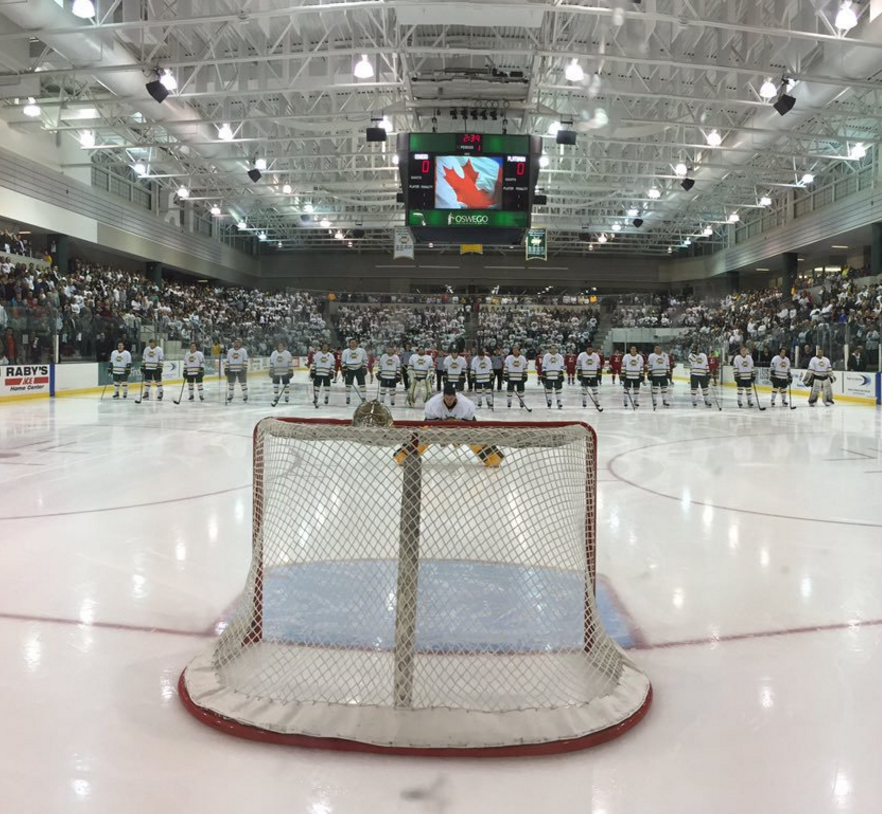 The Oswego State Lakers men's ice hockey team prepares for last year's Whiteout game