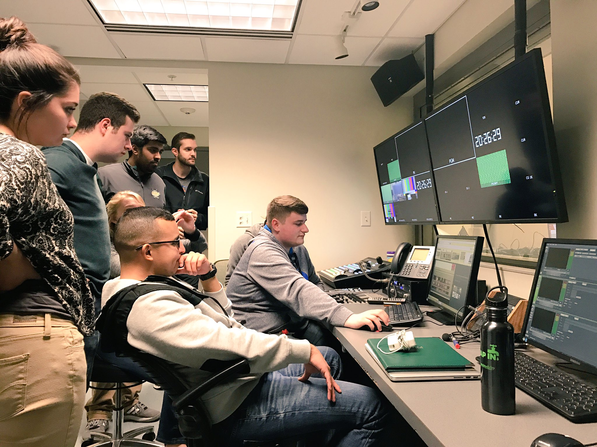 Ian Dwyer, '17 teaches members how to use the new Ross Xpression Graphics system