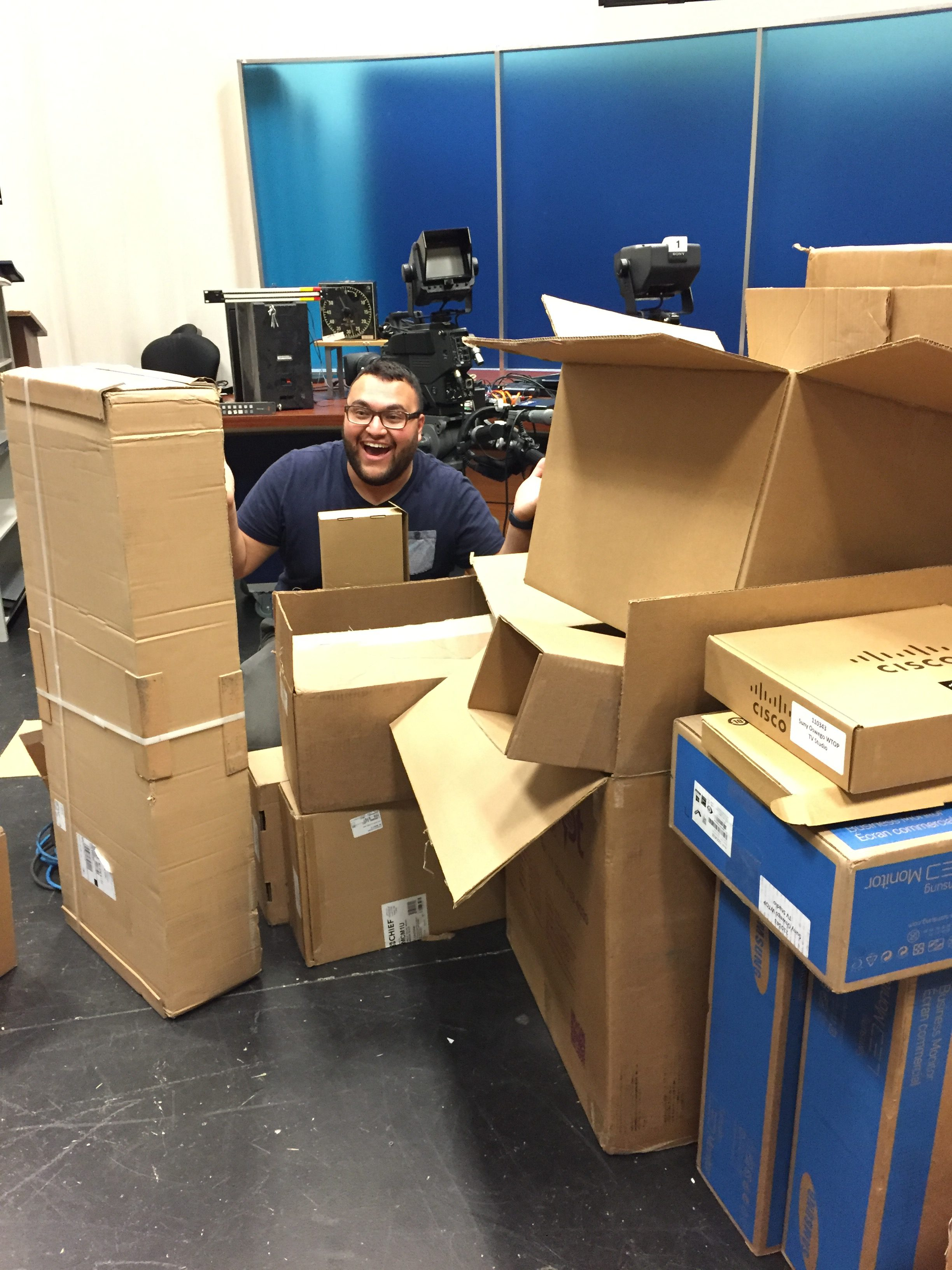 """""""What's in these boxes right here is almost everything we need to complete the upgrade"""" - Justin Dobrow '17, General Manager"""