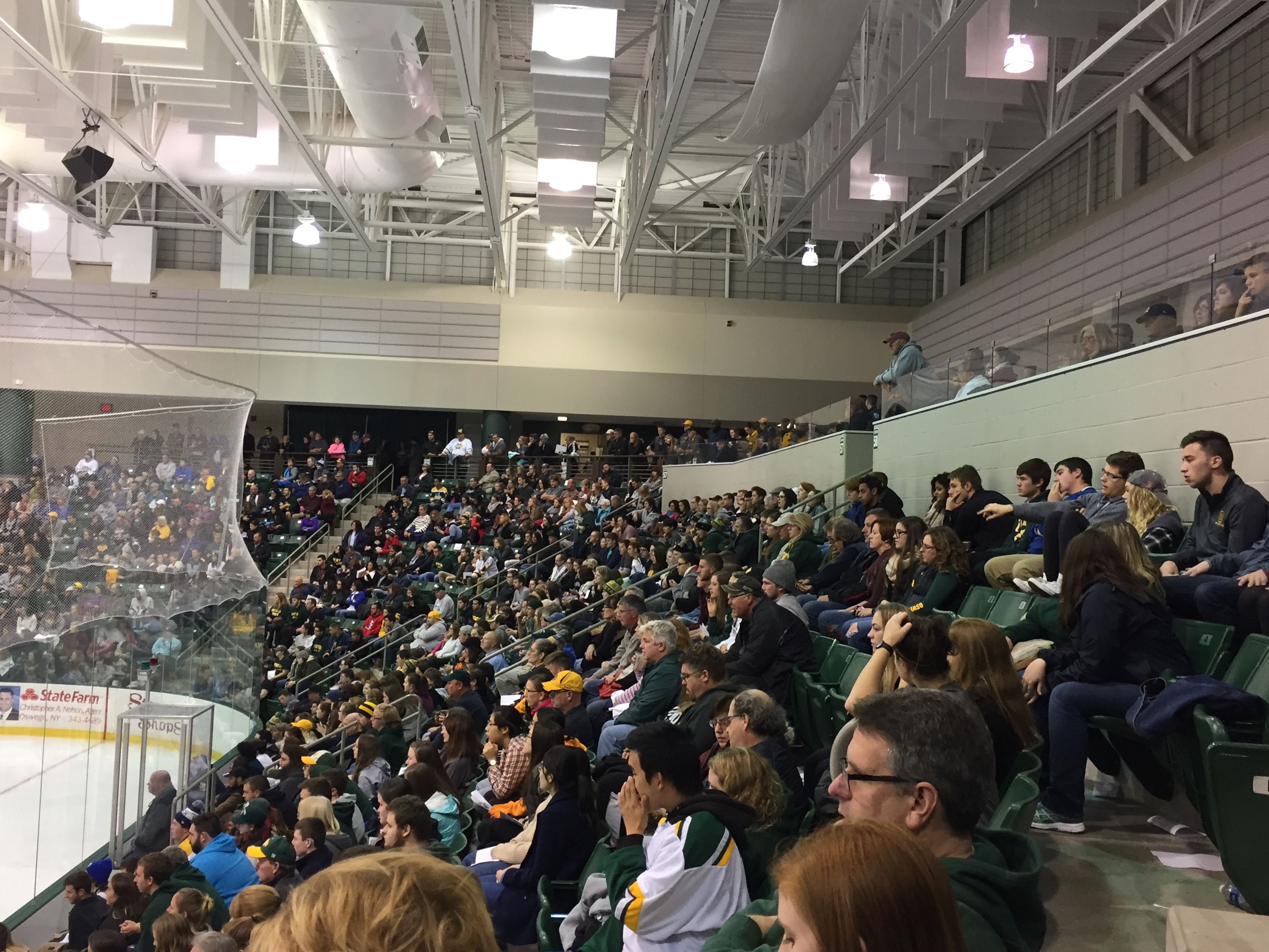 There was barely a single seat open during the men's ice hockey game