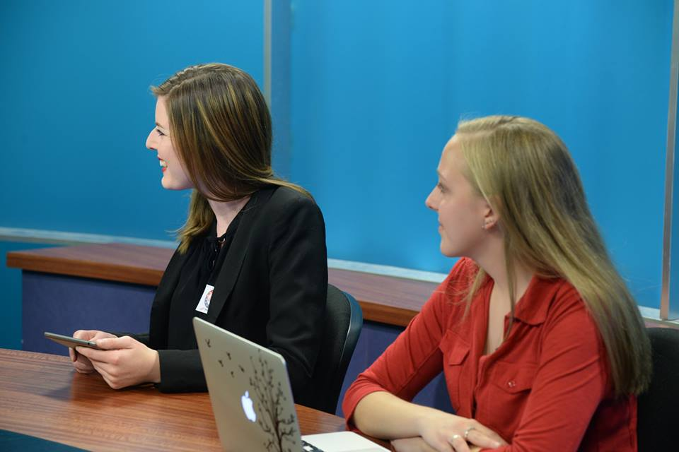Social media correspondents Kalie Hudson and Arielle Schunk discussing social media in this year's election